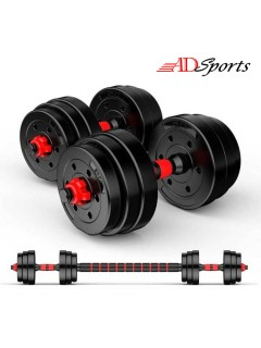 SUPERSPORT 10KG / 15KG / 20KG / 25KG / 30KG / 40KG Top Grade Gym Fitness Black Bumper Plate Rubber Dumbbell Set V8