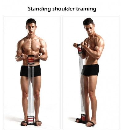 3 In 1 Spring Chest Developer Spring Expander+Hand Grip+Pedal 5 Multi-functional Detachable Muscle Exercise Resistance Band