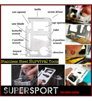 11-Function Stainless Steel Credit Card Knife Multi Pocket Survival Pocket Outdoor Camping Screwdriver Cap Opener Tool