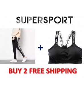 (FREE SPORT BRA )Supersport Womens Mid Waist Long Pants Seluar Sukan Casual Comfort Outdoor Workout Gym Yoga Zumba