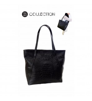B COLLECTION Crocodile Faux Leather Shoulder Tote Bags (Black)