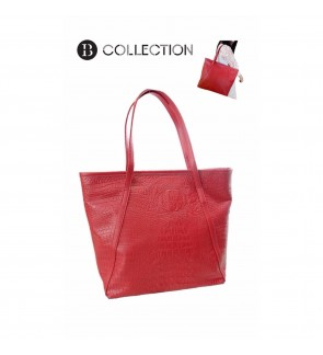 B COLLECTION Crocodile Faux Leather Shoulder Tote Bags (Red)