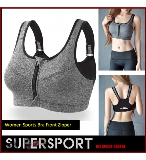 Supersport Ladies Running Breathable No Rims Bras Front Zipper Sports Bras (grey)