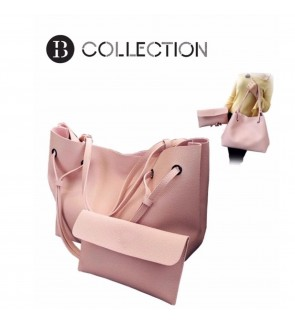B COLLECTION 2 in 1 Classic Style Shoulder Tote Bag Handbag - Pink