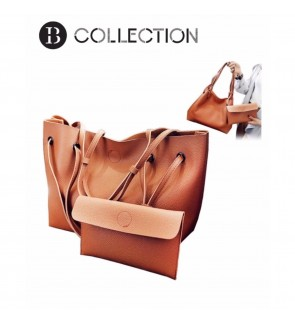 B COLLECTION 2 in 1 Classic Style Shoulder Tote Bag Handbag - Brown