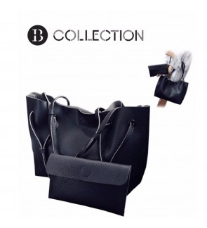 B COLLECTION 2 in 1 Classic Style Shoulder Tote Bag Handbag - Black