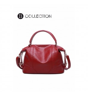 B COLLECTION Premium Leather Top Handle Shoulder Handbags Red