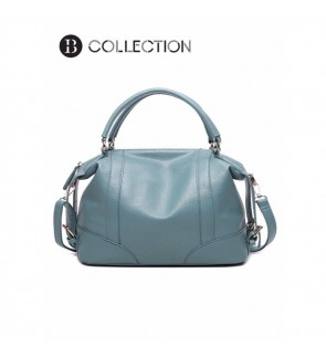 B COLLECTION Premium Leather Top Handle Shoulder Handbags Light Blue