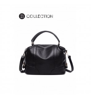 B COLLECTION Premium Leather Top Handle Shoulder Handbags Black