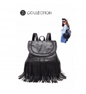 B COLLECTION Leather Tassel Studded Draw String Backpack (Black)