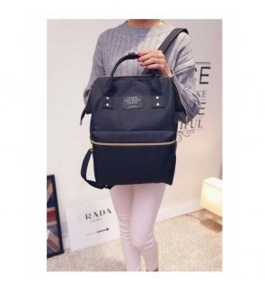 b collection Korea Imported Canvas Unisex Backpack Black