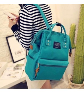 b collection Korea Imported Canvas Unisex Backpack Lake Blue