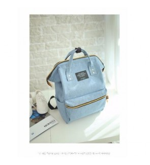 b collection Korea Imported Canvas Unisex Backpack Jeans Blue