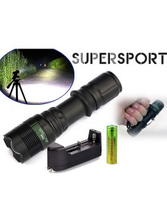 SUPERSPORT (FREE GIFT BOX) USA CREE T6 Q5 LED Torch Rechargeable Flashlight Tactical T6 3Mode LED Zoom Lamp Light 18650 Battery+Charger Indoor/Outdoor (Camping, Hiking and Emergency Use) Ship from SUPERSPORT MALAYSIA