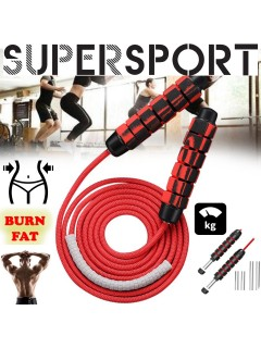 SUPERSPORT 8MM Heavy Adjustable Skipping Rope Soft Ball Bearing Handle Jump Rope Skipping Rope Jumping Rope Weavon Cable Foam Handle for Home Gym Crossfit Workouts MMA Boxing