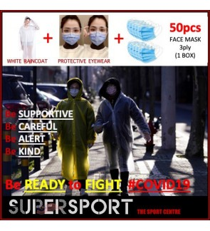 Full Set Preventive Gear To Fight Covid-19 (50pc FACE MASK 3ply + Protective EyeWear + RAINCOAT)