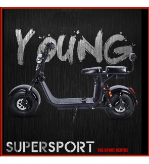 LED Harley Lithium Battery Double Seats Electric Scooter 60V 12AH 45km/h