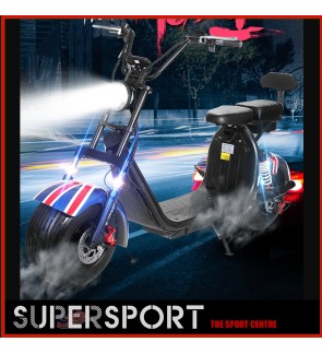 Electric Harley Motor Lithium Battery 60V 20ah Electric Scooter Double Seat with One Key Start