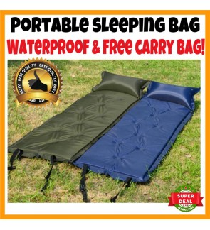 SUPERSPORT 188cm Waterproof Self-Inflating Dampproof Sleeping Pad Tent Air Mat Mattress with Pillow FREE Carry Bag